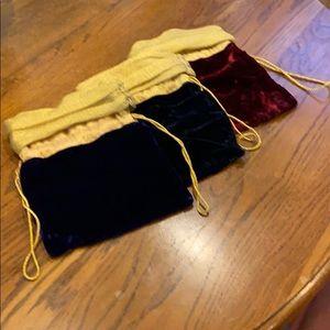 Beautiful Velvet Drawstring Gift Bags. Set of 3